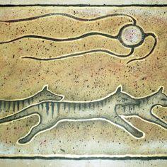 'Tribal Thylacines' by RustyandJosh Tasmanian Tiger, Australia Animals, Opossum, Extinct Animals, Cryptozoology, Aboriginal Art, Pet Birds, Tigers, Murals
