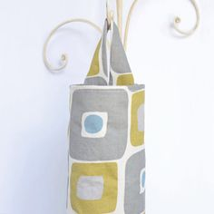 Fabric Plastic Grocery Bag Holder Grey and Yellow by ablemabel,