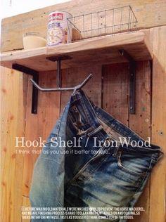 棚受け アイアン アンティーク フック ハンガーラック 工業 Antique wood hanger ¥9600yen 〆04月02日