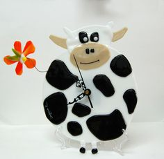 Fused Glass Funny White Cow with Orange Flower Wall by SophieRR, $220.00