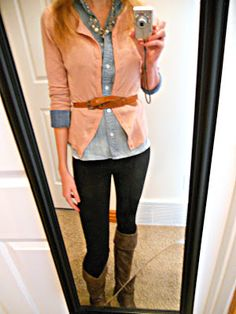 Belted cardigan over a chambray button down shirt.