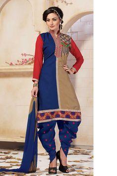 Blue Cotton Punjabi Salwar Suit with Dupatta