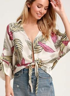 Throw the Lulus Island Breeze Cream Tropical Print Tie-Front Top over your bikini for a stylish extra layer! Cute tropical print top with half sleeves. Urban Chic, Island Outfit, Western Tops, Front Tie Top, Two Piece Dress, Work Attire, Spring Fashion, Kimono Top, Casual Outfits