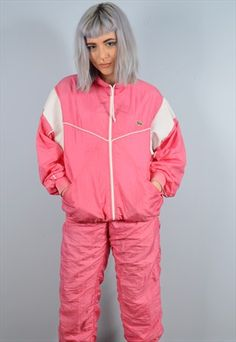 Lacoste Womens Vintage Full Shell Tracksuit Small Pink 90's