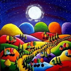 Colorful Art Peace on Earth 5 Houses Hills Folk Art Giclee Print Art And Illustration, Wal Art, Bead Embroidery Patterns, Bead Patterns, Beaded Embroidery, Arte Popular, Naive Art, Whimsical Art, Art Plastique