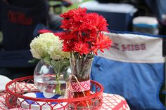 Flower arrangements in the Grove at Ole Miss in Oxford, MS