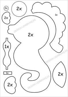 Caballito de mar de fieltro con moldes - Ideas de Manualidades Felt Animal Patterns, Felt Crafts Patterns, Applique Patterns, Stuffed Animal Patterns, Sewing Patterns, Quiet Book Templates, Felt Templates, Applique Templates, Card Templates
