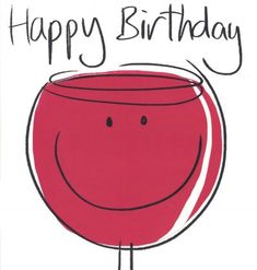 Birthday card - 'Red Wine'
