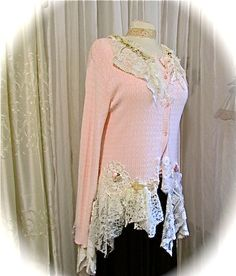 Shabby Pink Sweater womens clothing altered sweater