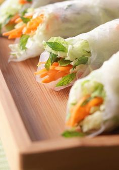 Get football fans their veggies with these yummy Thai Salad Rolls + Peanut Sauce. Get the recipe at Hallmark.com in time for your Big Game watch party!