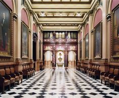 Available for sale from Sean Kelly Gallery, Candida Höfer, Mason Temple Philadelphia IV 2007 C-print, 59 × 70 in World Photography, Interior Photography, School Photographer, Masonic Temple, Hermitage Museum, Venice Biennale, Freemasonry, Museum Of Modern Art, Colour Images