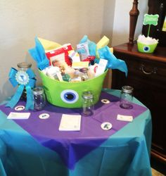 My sons, Monsters Inc. baby shower. Game table.