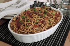 Receita de espaguete com carne ao vinho