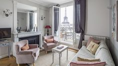 Rent our 2 bedroom apartment Chateau Latour located near the Seine. The piece de resistance is the unbelievable view of the Eiffel Tower from the over-sized balcony.