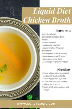 A simple recipe I used during my 2 week liquid diet Just drop the ingredients into the crock pot turn on low and enjoy once the broth is complete bariatric liquiddiet gastricsleeve recipe bariatricrecipes Easy Soup Recipes, Diet Recipes, Healthy Recipes, Smoothie Recipes, Slow Food, Atkins, Quick And Easy Soup, Liquid Diet, Liquid Meals