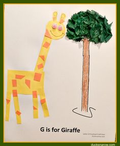 Letter G is for Giraffe is a great preschool lesson but don't count out older children. The craft is perfect for Kindergarten, and 1st grade, as well. #kidscrafts