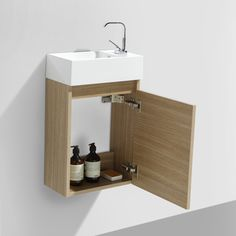 Le Monde du Bain - Meuble lave-main salle de bain design SIENA largeur 40 cm Chêne Clair