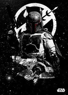 Poster metálico Boba Fett y Slave I, 45 x 32 cm. Star Wars Pilots  Un poster metálico con el mejor cazarecompensas de la galaxia Boba Fett y su nave la Slave I.  Por su estructura de metal este poster es resistente y además de fácil montaje.