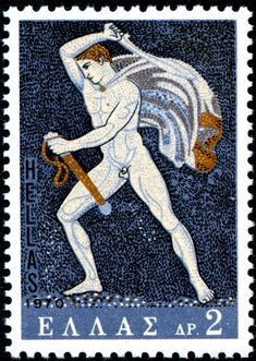 Mosaic shows a Hunter of a lion hunt from Pella, Macedonia century B C. Stamp printed in Greece from the Greek Mosaics issue ,circa 1970 Greece Pictures, Jesus Painting, Postage Stamp Art, Going Postal, Stamp Printing, Lion, Greek Art, Fauna, Stamp Collecting