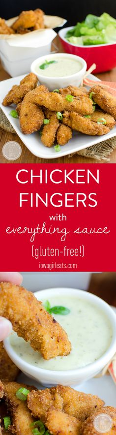 Your family will flip for crispy Chicken Fingers with Everything Sauce! Crunchy chicken fingers served with a homemade dipping sauce that's great with just about everything.  #glutenfree | iowagirleats.com