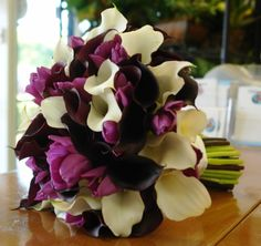 bouquet of callas, plum fringed tulips, parrot tulips and queen of the night tulips
