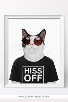 """This cat print that shows a black and white cat in a black t-shirt that says """"hiss off"""" is the perfect wall decor for any sarcastic person.  Looks great anywhere in your home and it's also a nice artwork to a hang in your dorm room. Also makes a perfect funny gift for a cat-loving friend or family member. Cat Lover Gifts, Gift For Lover, Cat Lovers, Sarcastic Person, Dorm Decorations, Crazy Cats, Dorm Room, Funny Gifts, Framed Prints"""