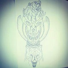 Animal totem pole (rib piece) My instagram : http://instagram.com/jthomasinks