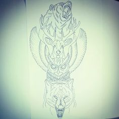 Animal totem pole (rib piece) My instagram : http://instagram.com/jthomasinks