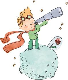 Adesivi Murali: Il piccolo principe e l'universo | LeoStickers Little Prince Party, The Little Prince, Prince Nursery, Prince Drawing, Belle And Boo, Cute Illustration, Easy Drawings, Cute Wallpapers, Chibi