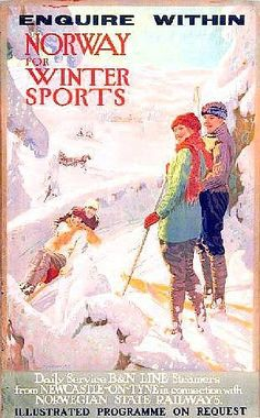 Continental Travel Posters: Oakdale Norway Winter Sports, Norwegian State Railways - 102 x 63 cm