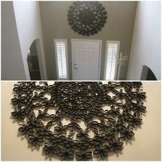 recycled toilet roll wall art.  I'd love to do this around my bedroom light.