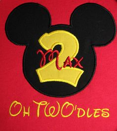 Personalized Mickey Mouse Oh TWO'dles Birthday Shirt with Extra Large Mickey Head and Yellow Fabric Number. Short or Long Sleeves