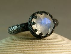 Rose Cut Rainbow Moonstone Ring Gothic Oxidized Sterling Silver by TazziesCustomJewelry