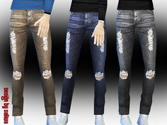 High quality texture with 3 colour options ripped jeans design by Saliwa Found in TSR Category 'Sims 4 Male Everyday'