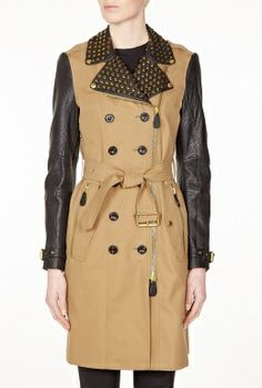 Looked even better on my daughter-in-law ;-) Leather Sleeve Spiked Collar Trench Coat by Burberry Brit