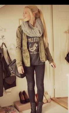 printed t-shirt outfit cute, casual look - chunky knit tan inifinity scarf, graphic gray t, olive jacket, dark gray or black skinny jeans, short boots.
