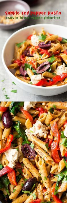 Wholewheat Penne (or GF), Roasted Red Peppers, Baby Spinach, Black Kalamata Olives, Pine Nuts, Vegan Ricotta or Feta, Sambal Oelek (Indonesian Chilli Paste) or Fresh Chilli, Chilli Flakes (Turkish Pul Biber), Parsley, Garlic Cloves, Olive Oil, (optional Nutritional Yeast)