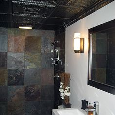 Ceilume's 'Alexander' and 'Continental' ceiling tiles were installed in this modern-style bathroom for an ulta sophisticated feel. Bathroom Ceilings, Ceiling Tiles, Mirror, Interior Design, Modern, Furniture, Ideas, Home Decor, Style