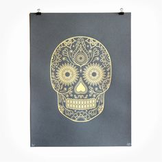 Gold Day of the Dead Screen Print      PRODUCTION METHOD  Silkscreen    DESIGN  Emily Evans      PRINTING  Emily Evans at Print Club London