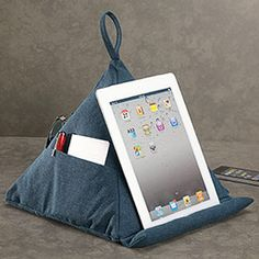 Canvas pyramid pillow by Levenger. Great for tablet/iPad owners