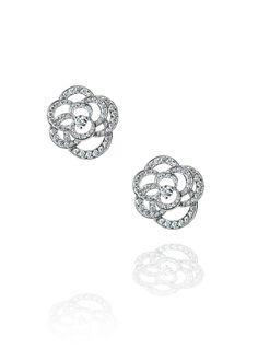 Camélia Earrings in 18K white gold and diamonds - CHANEL