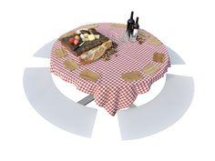 Mesa de picnic redonda con bancos integrados LA GRANDE RONDE by CASSECROUTE | diseño Studio Segers