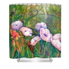 Poppy Flowers Shower Curtain featuring the painting White Poppy Flowers at the Pond by Sabina Von Arx Basic Colors, Green Colors, Green Bathroom Decor, Poppy Flowers, Curtains For Sale, Creative Colour, Painting Techniques, Color Show, Pond