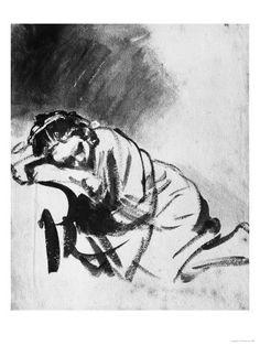 Sleeping Girl, Drawing, British Museum, London Giclée-Druck