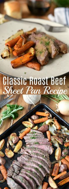This easy Classic Roast Beef Sheet Pan Recipe is a fantastic choice for busy weeknights. The Top Sirloin Steak has all the flavor in a fraction of the time. Sheet Pan Recipe, Top Sirloin Steak Oven Recipe, Classic Roast Beef Recipe, Sheet Pan Meals, via Slow Cooked Roast Beef, Roast Beef Recipes, Lamb Recipes, Real Food Recipes, Dinner Recipes, Dinner Ideas, Meal Recipes, Top Recipes, Family Recipes