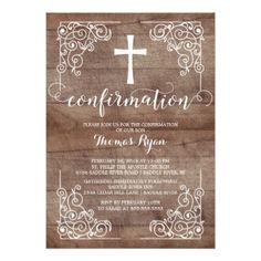 Rustic Wood Cross Confirmation Invitation - invitations personalize custom special event invitation idea style party card cards
