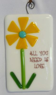 Fused Glass Tile! All you need is Love! -Copper Moon Studio