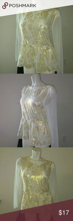 Ella moss Gold and white blouse Sz medium NWOT Ella Moss gauzy gold never been worn. 70% silk & 30% lurex for the body and 100% for contrasting elements. Covered buttons run down the back of this blouse. This piece can be worn as a day or night time wear.   Make me an offer 🤗 Ella Moss Tops Tunics