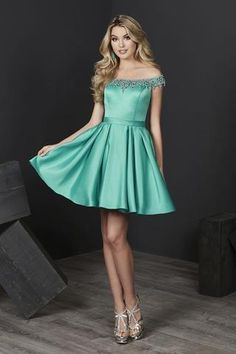 Tiffany Homecoming - 27205 Beaded Off-Shoulder Satin A-line Dress Turquoise Homecoming Dresses, Turquoise Dress, Hoco Dresses, Prom Dresses Online, Pretty Dresses, Green Cocktail Dress, Perfect Prom Dress, Sweet Dress, Two Piece Dress