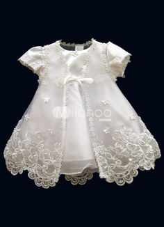 White Jewel Neck Cotton Polyester Christening Dress. White Jewel Neck Cotton Polyester Christening Dress. See More Christening Dresses at http://www.ourgreatshop.com/Christening-Dresses-C909.aspx